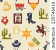 Western and rodeo seamless background pattern with colored silhouette vector icons of a wagon  bull  cowboy  stetson  boot  necktie  cactus  wanted poster  guns  and money - stock