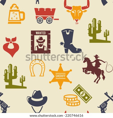 Western and rodeo seamless background pattern with colored silhouette vector icons of a wagon  bull  cowboy  stetson  boot  necktie  cactus  wanted poster  guns  and money - stock vector