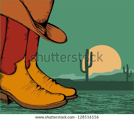 western background with cowboy shoes and desert landscape for design - stock vector