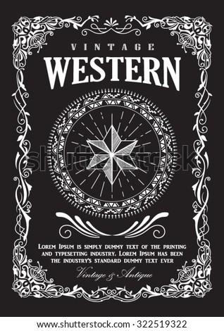 Western border vintage frame flourish banner vector illustration - stock vector