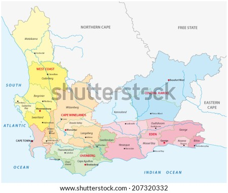 Western Cape Administrative Map Stock Vector HD Royalty Free