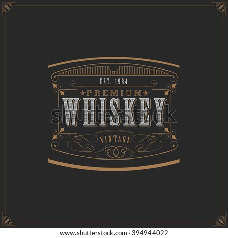 Western Design Template for Handcrafted Aged Whiskey Beer Label Design  - stock vector
