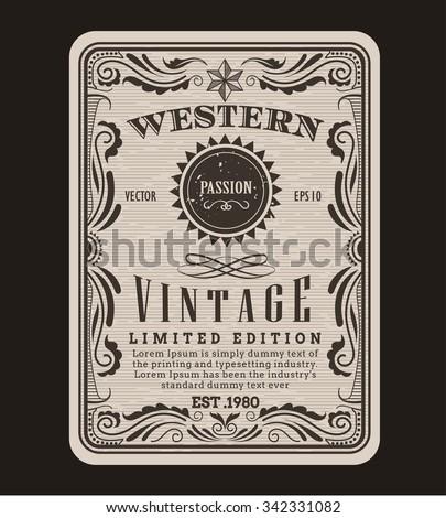 Western frame border vintage label hand drawn engraving retro antique vector illustration - stock vector