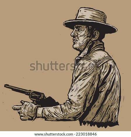 western hero with a revolver. linocut style. vector illustration - stock vector