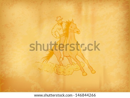 western horse on the background - stock vector