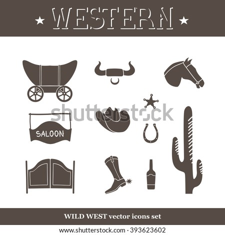 western icon set, wild west vector illustration - stock vector