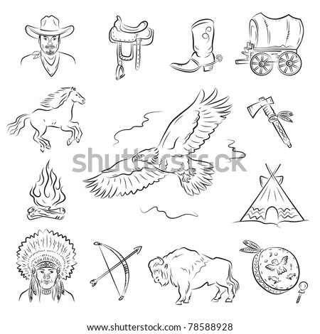 Western Icons Set. A collection of stylish vector images on the theme of the Wild West - stock vector