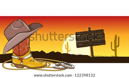 Western image with cowboy clothes and desert landscape for design - stock vector