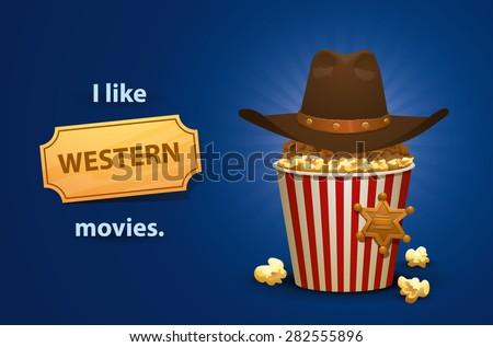 Western movies, vector - stock vector