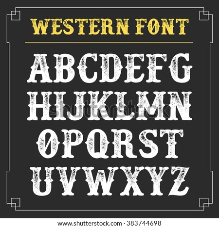 Western Retro Alphabet Vector Background Vintage Stock ...