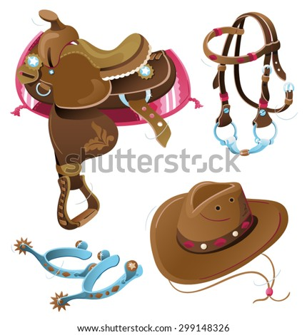 Western Riding Tack. Collection of hand drawn cowboy stuff illustrations isolated on white background. - stock vector