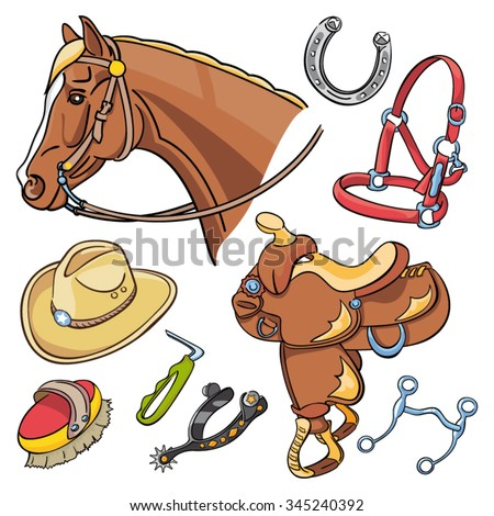 Western Riding Tack illustrations - Hand drawn horse head, saddle and cowboy accessories - stock vector