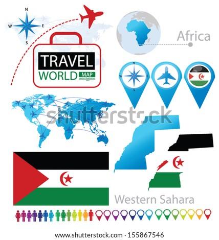 Western Sahara. flag. World Map. Travel vector Illustration. - stock vector