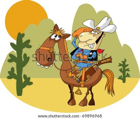 Western Sheriff On Horseback In Front Western Landscape; - stock vector