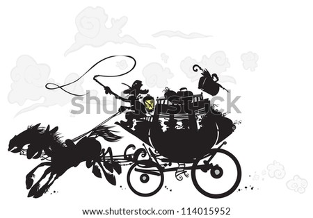 Western Stagecoach. Silhouette drawing. - stock vector