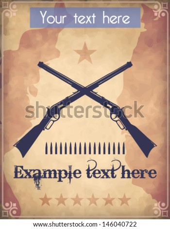 Western style poster with two crossed repeater rifles - stock vector