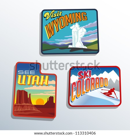 Western United States Utah Colorado Wyoming vector illustrations designs - stock vector