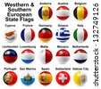 Westhern & Southern European State Flags - stock photo