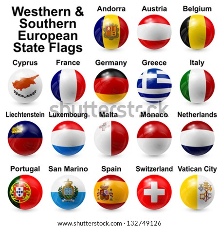 Westhern & Southern European State Flags - stock vector