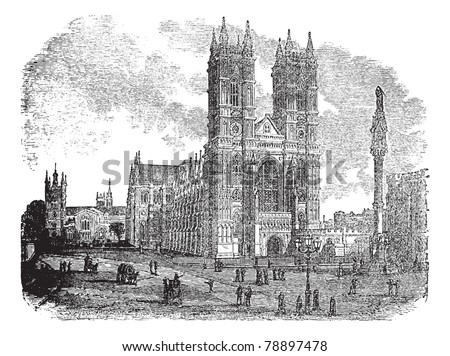 Westminster Abbey or Collegiate Church of St Peter in London, England, during the 1890s, vintage engraving. Illustration of Westminster Abbey with people in front. Trousset encyclopedia (1886 - 1891)
