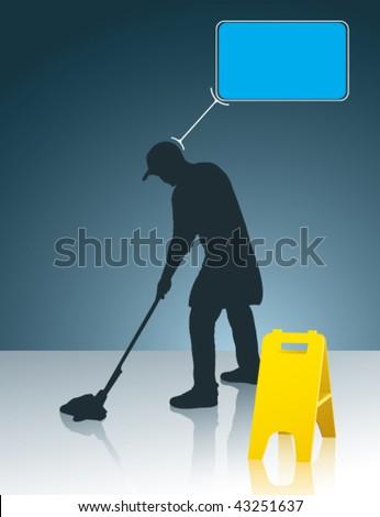 wet floor cleaner - stock vector