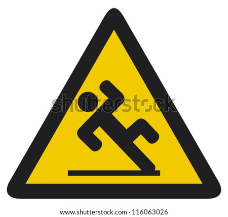 wet floor sign (slippery warning symbol, wet floor caution sign) - stock vector