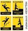 Wet floor, stairways, watch your step - set of vector caution signs. Yellow and black warning icons. Stop ahead, warning - go slow, warning- tripping hazard - stock vector