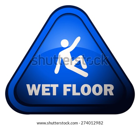 Wet Floor Triangular Warning Sign, Vector Illustration isolated on White Background. - stock vector