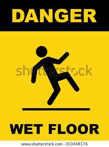 Wet floor warning sign . Vector illustration - stock vector
