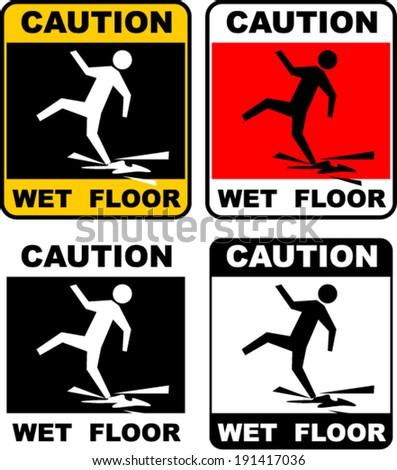 wet floor, warning sticker - stock vector