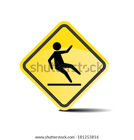 Wet floor yellow sign.Vector illustration.  - stock vector