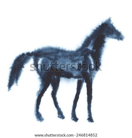 Wet watercolor horse - stock vector