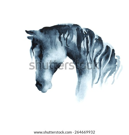 Wet watercolor horse head. Vector. - stock vector