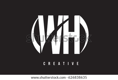 Wh W H White Letter Logo Design With White Background Vector Illustration Template