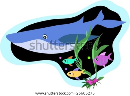 Whale and Fish Swim Vector