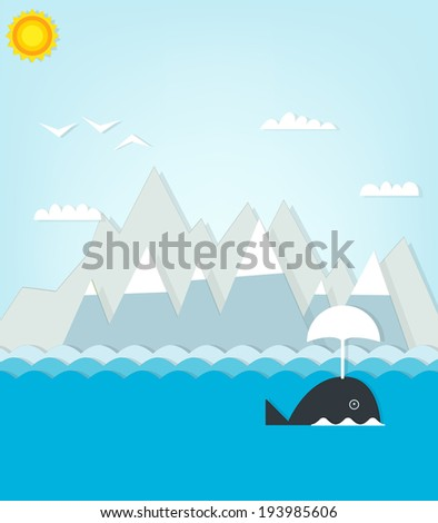 whale floating on a background of mountains - stock vector
