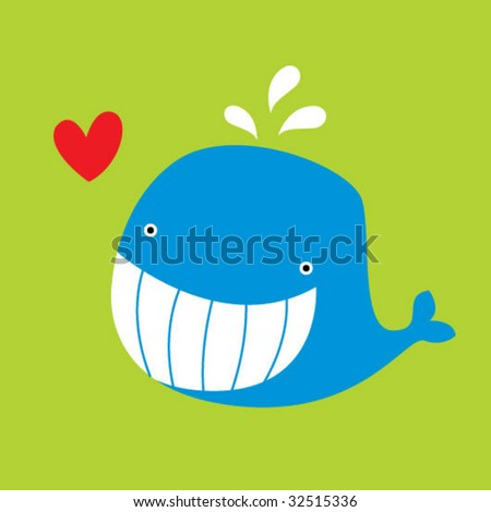 whale love greeting card - stock vector