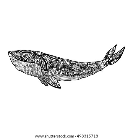 Whale Vector Zentangle Whale Print Adult Stock Vector