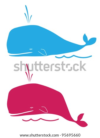 whales - stock vector