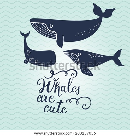 Whales are cute. Sweet whales on marine background with waves in vector. Lovely childish card in stylish colors - stock vector