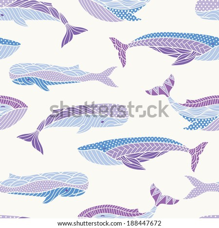 Whales seamless pattern - stock vector