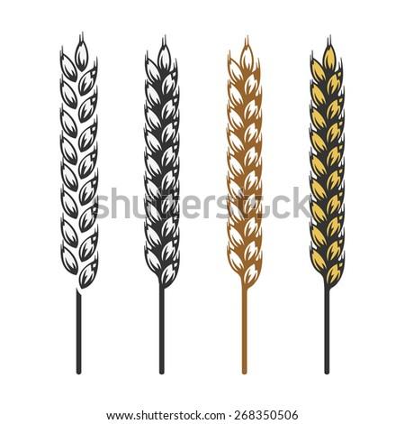 Wheat, barley, rye bread craft bakery icon - stock vector