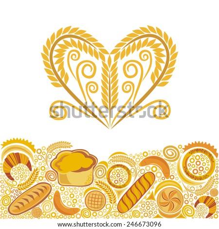 Wheat bread baker vector illustration - stock vector