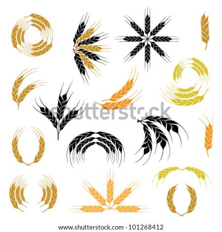 wheat ear icon and wreath set - stock vector
