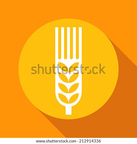Wheat ear sign on yellow background - stock vector