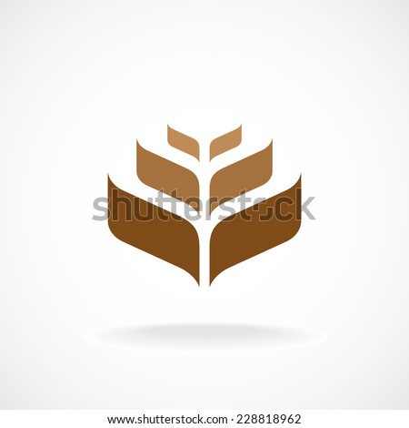 Wheat ear technical logo template. Construction or building sign. - stock vector