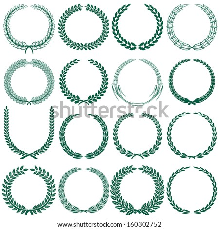 wheat, laurel, oak and some other tree wreaths set - stock vector