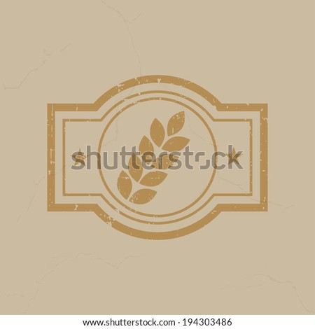 Wheat stamp on the brown grunge background