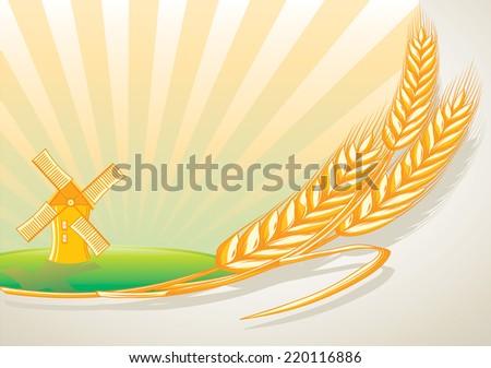 Wheat & windmill - stock vector