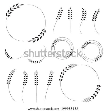 Wheat wreaths, wheat ears, set of black silhouette, isolated on white background, vector illustration. - stock vector